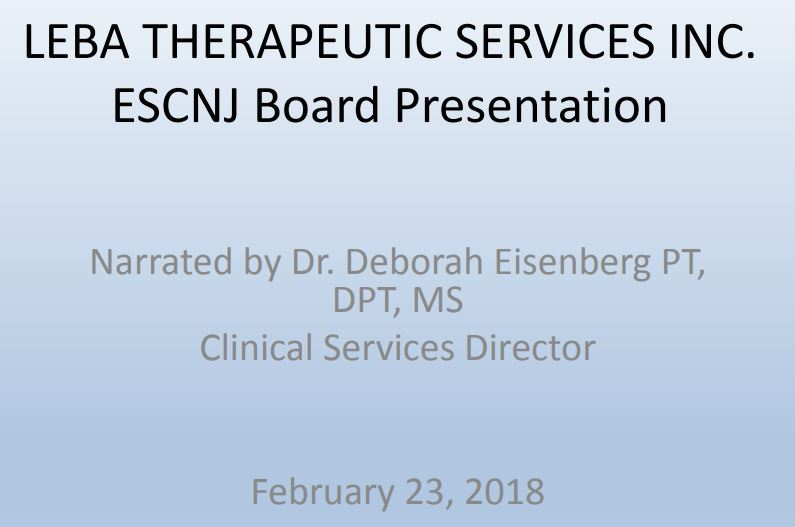 Board Presentation: LEBA Therapeutic Services, By Dr. Deborah Eisenberg